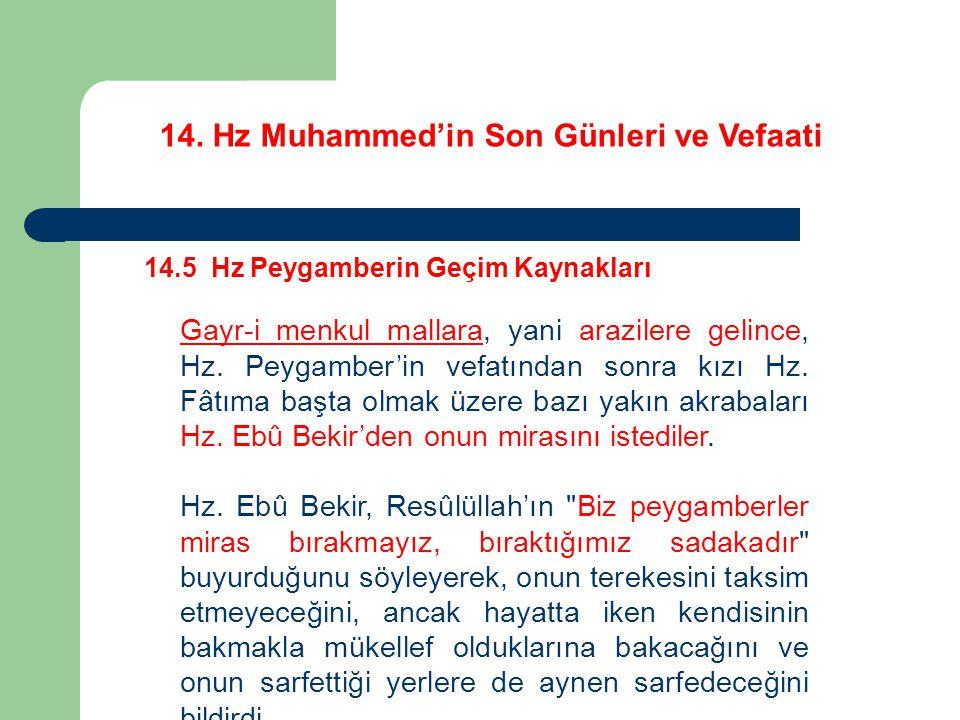 14. Hz Muhammed'in Son Günleri ve Vefaati 14.5 Hz Peygamberin Geçim Kaynakları Gayr-i menkul mallara, yani arazilere gelince, Hz. Peygamber'in vefatın