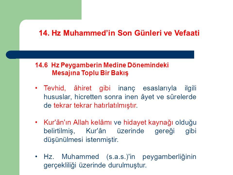 14. Hz Muhammed'in Son Günleri ve Vefaati 14.6 Hz Peygamberin Medine Dönemindeki Mesajına Toplu Bir Bakış Tevhid, âhiret gibi inanç esaslarıyla ilgili