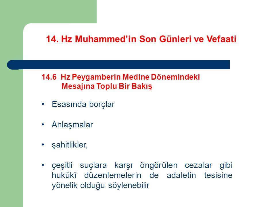 14. Hz Muhammed'in Son Günleri ve Vefaati 14.6 Hz Peygamberin Medine Dönemindeki Mesajına Toplu Bir Bakış Esasında borçlar Anlaşmalar şahitlikler, çeş