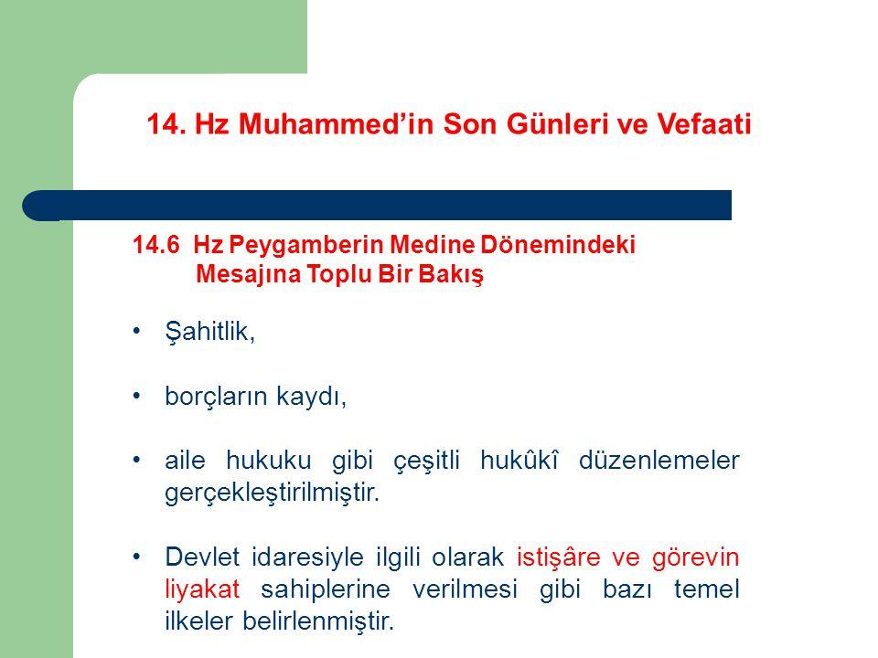 14. Hz Muhammed'in Son Günleri ve Vefaati 14.6 Hz Peygamberin Medine Dönemindeki Mesajına Toplu Bir Bakış Şahitlik, borçların kaydı, aile hukuku gibi