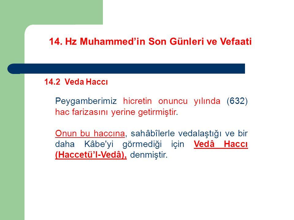 14. Hz Muhammed'in Son Günleri ve Vefaati 14.2 Veda Haccı Peygamberimiz hicretin onuncu yılında (632) hac farizasını yerine getirmiştir. Onun bu haccı