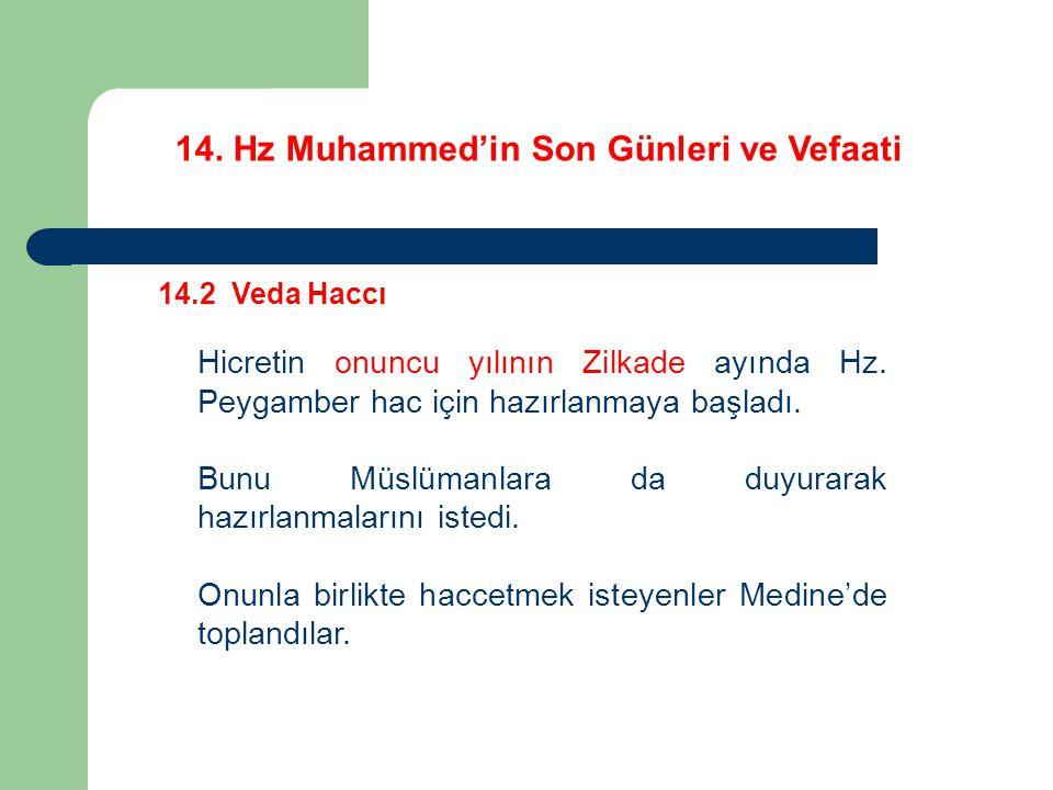 14. Hz Muhammed'in Son Günleri ve Vefaati 14.2 Veda Haccı Hicretin onuncu yılının Zilkade ayında Hz. Peygamber hac için hazırlanmaya başladı. Bunu Müs
