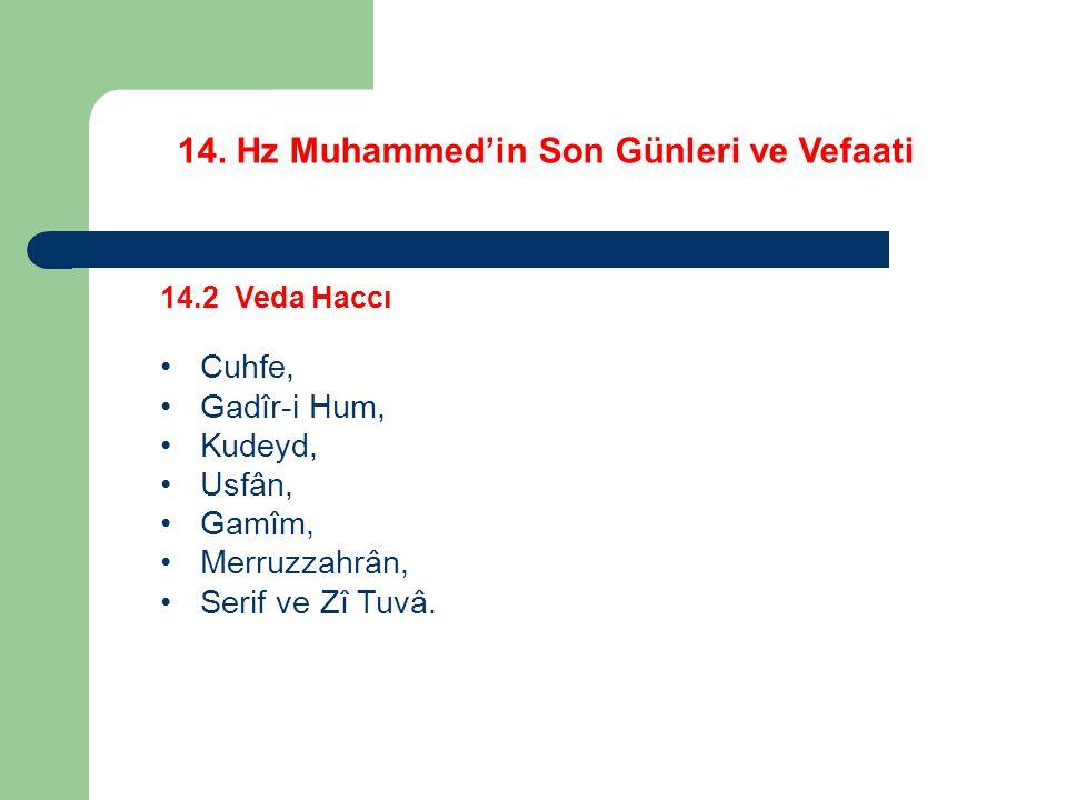 14. Hz Muhammed'in Son Günleri ve Vefaati 14.2 Veda Haccı Cuhfe, Gadîr-i Hum, Kudeyd, Usfân, Gamîm, Merruzzahrân, Serif ve Zî Tuvâ.