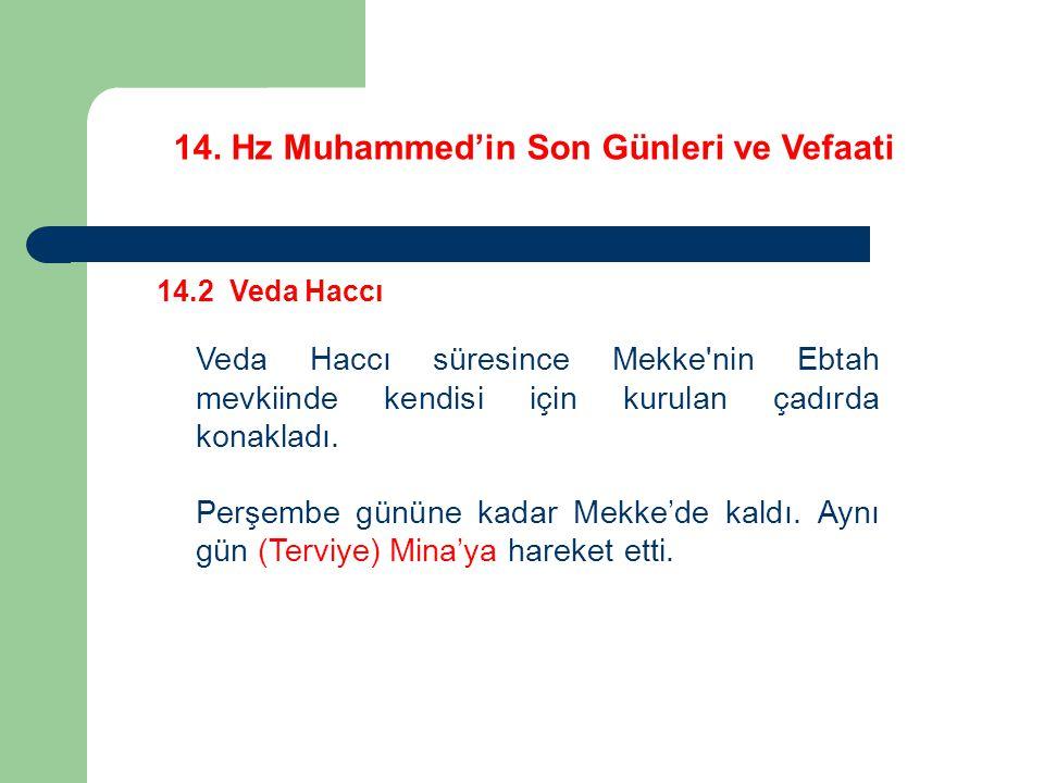 14. Hz Muhammed'in Son Günleri ve Vefaati 14.2 Veda Haccı Veda Haccı süresince Mekke'nin Ebtah mevkiinde kendisi için kurulan çadırda konakladı. Perşe