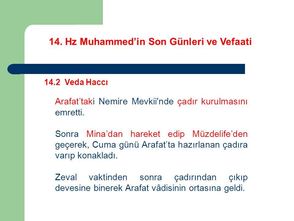 14. Hz Muhammed'in Son Günleri ve Vefaati 14.2 Veda Haccı Arafat'taki Nemire Mevkii'nde çadır kurulmasını emretti. Sonra Mina'dan hareket edip Müzdeli
