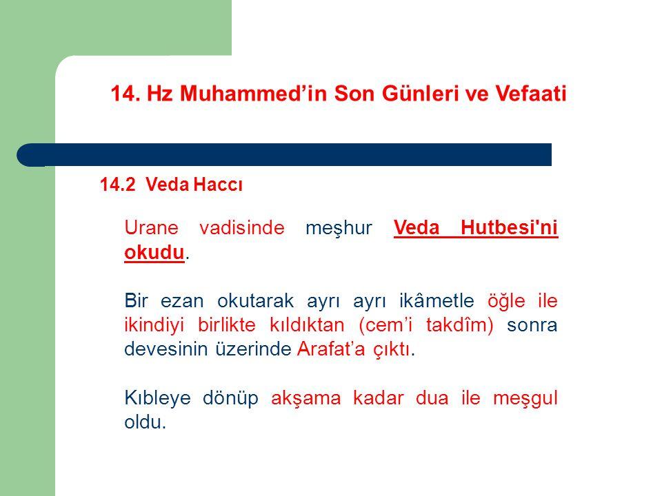 14. Hz Muhammed'in Son Günleri ve Vefaati 14.2 Veda Haccı Urane vadisinde meşhur Veda Hutbesi'ni okudu. Bir ezan okutarak ayrı ayrı ikâmetle öğle ile
