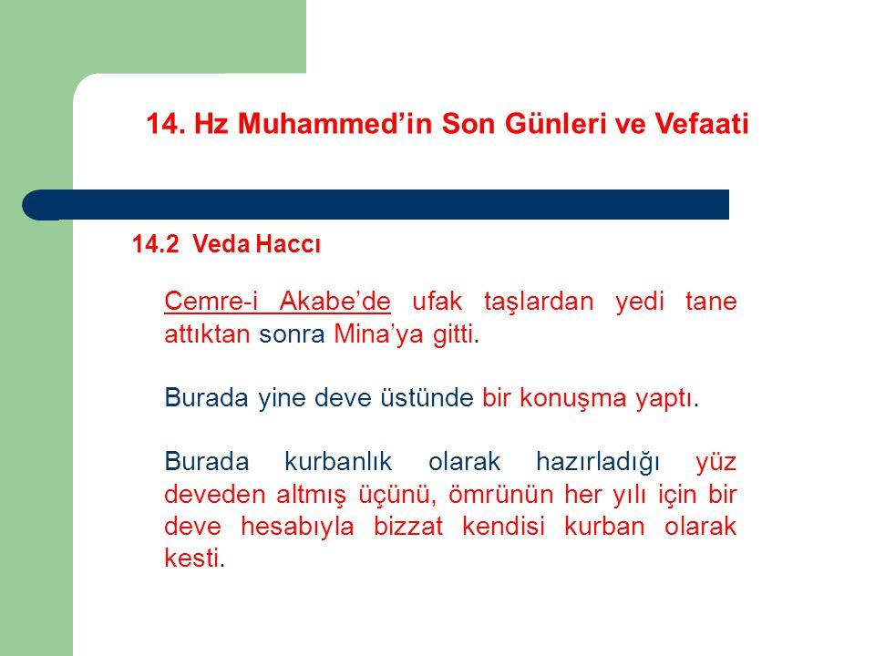 14. Hz Muhammed'in Son Günleri ve Vefaati 14.2 Veda Haccı Cemre-i Akabe'de ufak taşlardan yedi tane attıktan sonra Mina'ya gitti. Burada yine deve üst