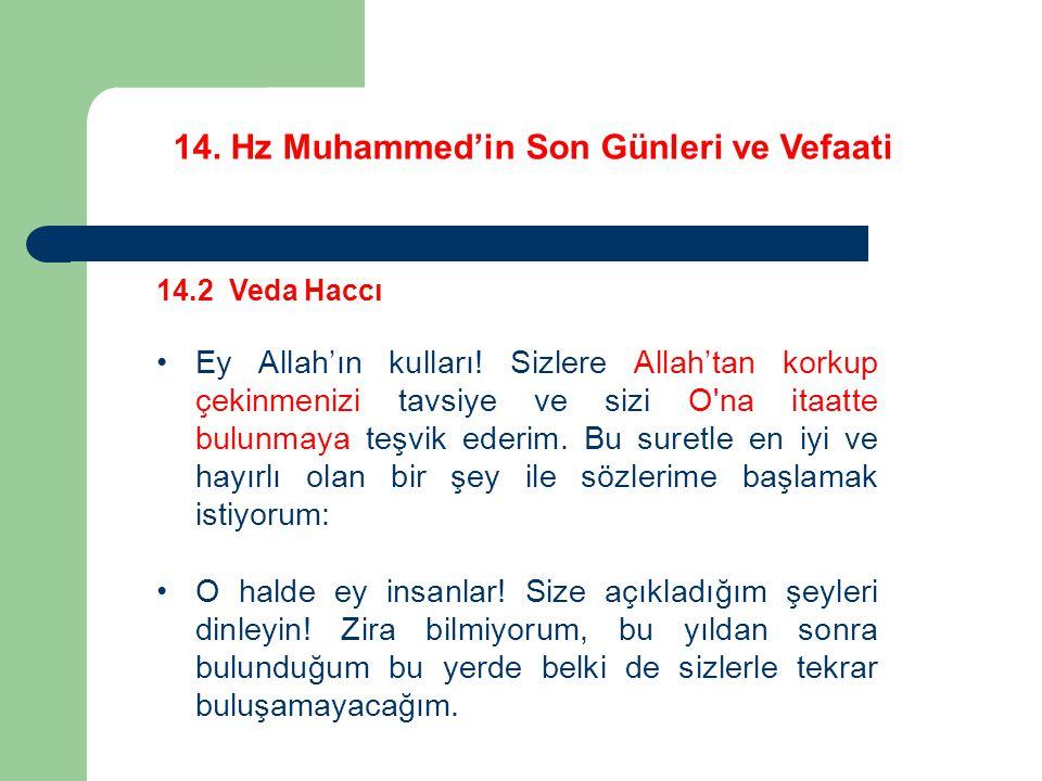14.Hz Muhammed'in Son Günleri ve Vefaati 14.2 Veda Haccı Ey Allah'ın kulları.