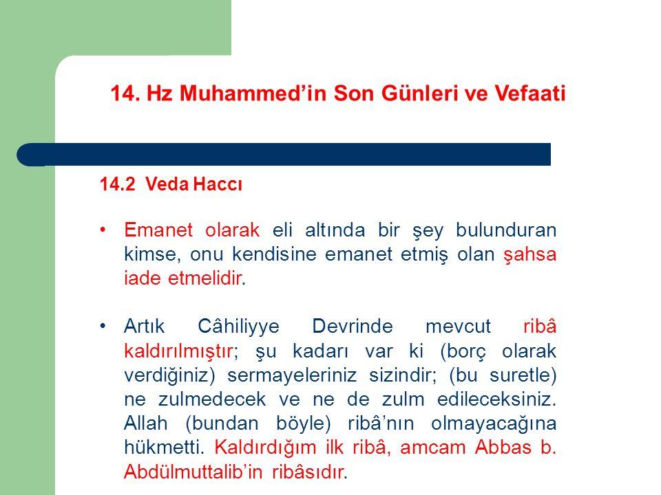 14. Hz Muhammed'in Son Günleri ve Vefaati 14.2 Veda Haccı Emanet olarak eli altında bir şey bulunduran kimse, onu kendisine emanet etmiş olan şahsa ia