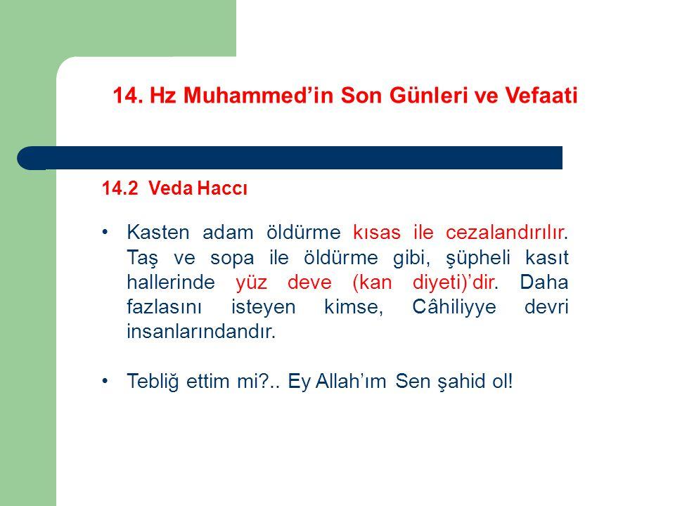 14. Hz Muhammed'in Son Günleri ve Vefaati 14.2 Veda Haccı Kasten adam öldürme kısas ile cezalandırılır. Taş ve sopa ile öldürme gibi, şüpheli kasıt ha
