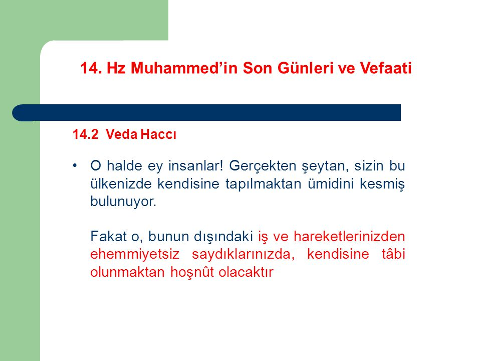 14.Hz Muhammed'in Son Günleri ve Vefaati 14.2 Veda Haccı O halde ey insanlar.