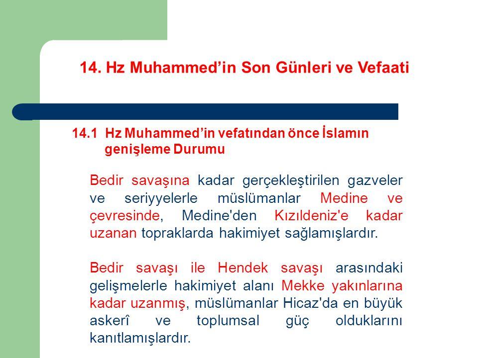 14. Hz Muhammed'in Son Günleri ve Vefaati 14.1 Hz Muhammed'in vefatından önce İslamın genişleme Durumu Bedir savaşına kadar gerçekleştirilen gazveler