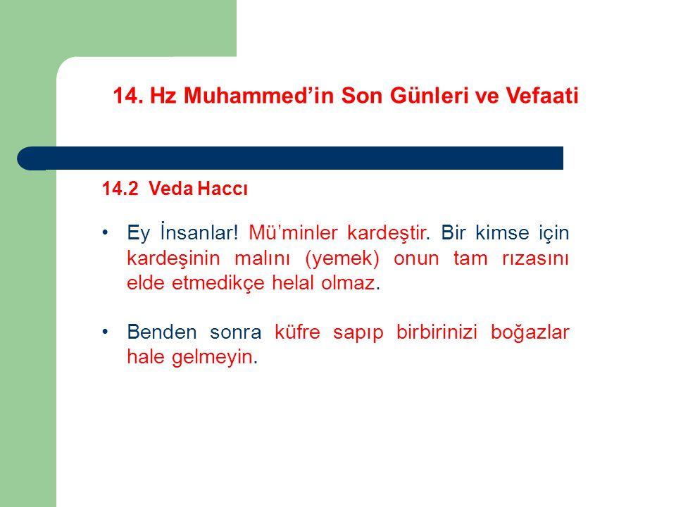14.Hz Muhammed'in Son Günleri ve Vefaati 14.2 Veda Haccı Ey İnsanlar.