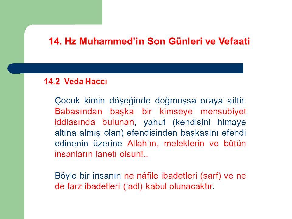 14. Hz Muhammed'in Son Günleri ve Vefaati 14.2 Veda Haccı Çocuk kimin döşeğinde doğmuşsa oraya aittir. Babasından başka bir kimseye mensubiyet iddiası