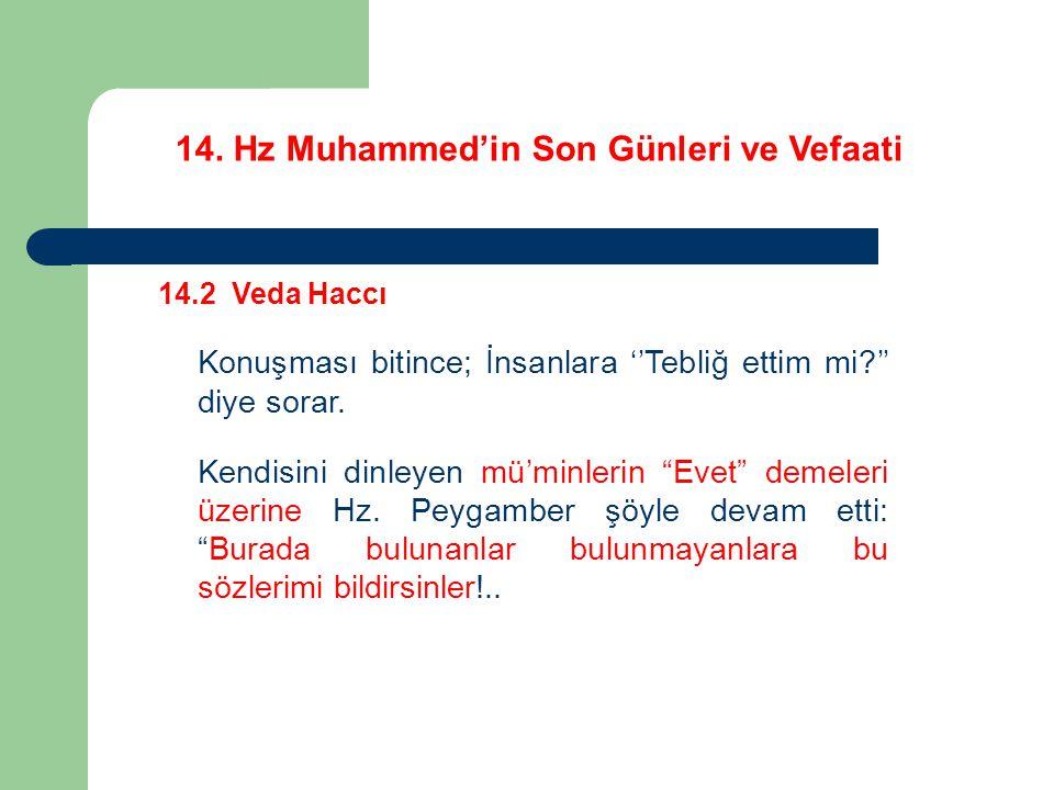 14. Hz Muhammed'in Son Günleri ve Vefaati 14.2 Veda Haccı Konuşması bitince; İnsanlara ''Tebliğ ettim mi?'' diye sorar. Kendisini dinleyen mü'minlerin