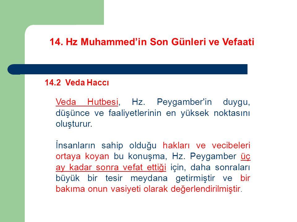 14.Hz Muhammed'in Son Günleri ve Vefaati 14.2 Veda Haccı Veda Hutbesi, Hz.