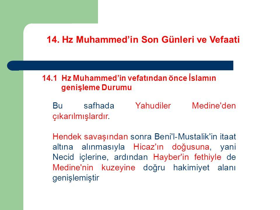 14. Hz Muhammed'in Son Günleri ve Vefaati 14.1 Hz Muhammed'in vefatından önce İslamın genişleme Durumu Bu safhada Yahudiler Medine'den çıkarılmışlardı