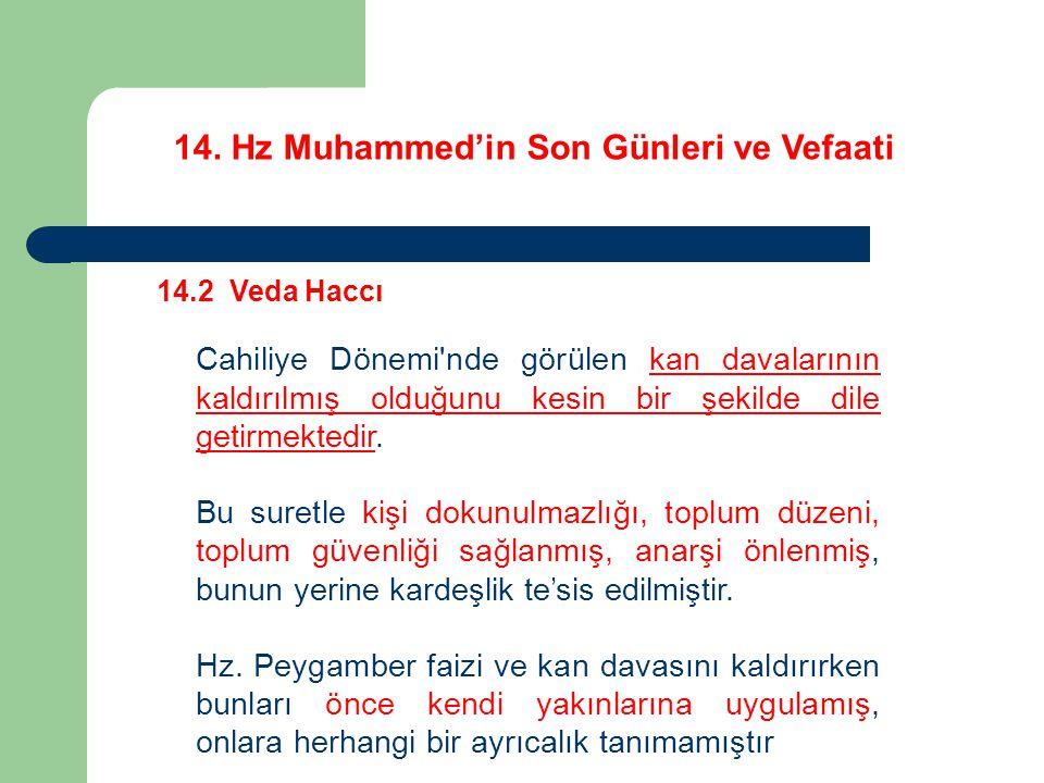 14. Hz Muhammed'in Son Günleri ve Vefaati 14.2 Veda Haccı Cahiliye Dönemi'nde görülen kan davalarının kaldırılmış olduğunu kesin bir şekilde dile geti