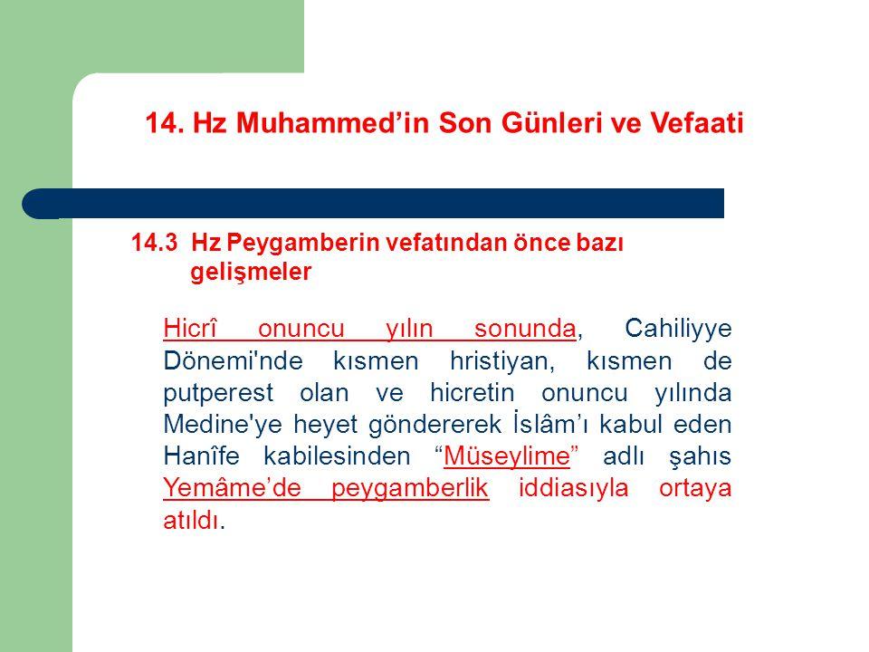 14. Hz Muhammed'in Son Günleri ve Vefaati 14.3 Hz Peygamberin vefatından önce bazı gelişmeler Hicrî onuncu yılın sonunda, Cahiliyye Dönemi'nde kısmen