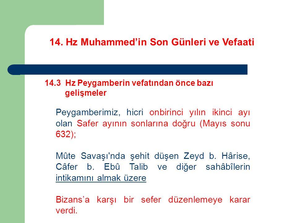 14. Hz Muhammed'in Son Günleri ve Vefaati 14.3 Hz Peygamberin vefatından önce bazı gelişmeler Peygamberimiz, hicri onbirinci yılın ikinci ayı olan Saf