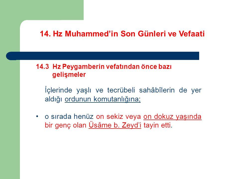 14. Hz Muhammed'in Son Günleri ve Vefaati 14.3 Hz Peygamberin vefatından önce bazı gelişmeler İçlerinde yaşlı ve tecrübeli sahâbîlerin de yer aldığı o