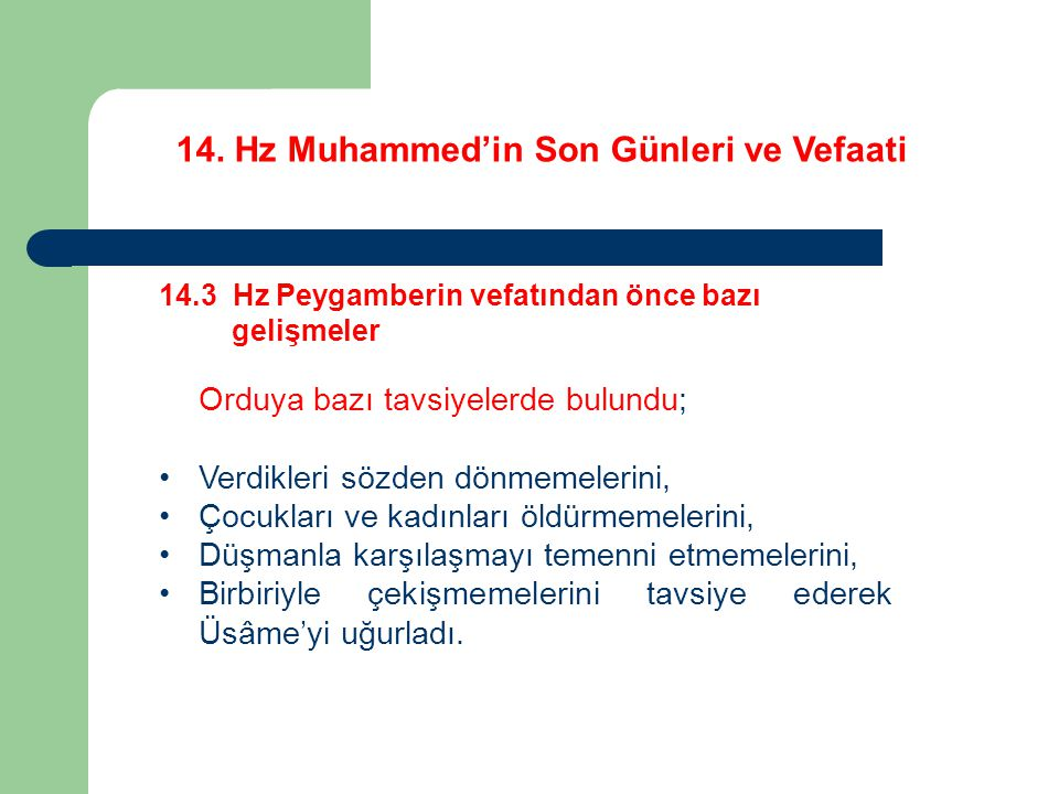 14. Hz Muhammed'in Son Günleri ve Vefaati 14.3 Hz Peygamberin vefatından önce bazı gelişmeler Orduya bazı tavsiyelerde bulundu; Verdikleri sözden dönm