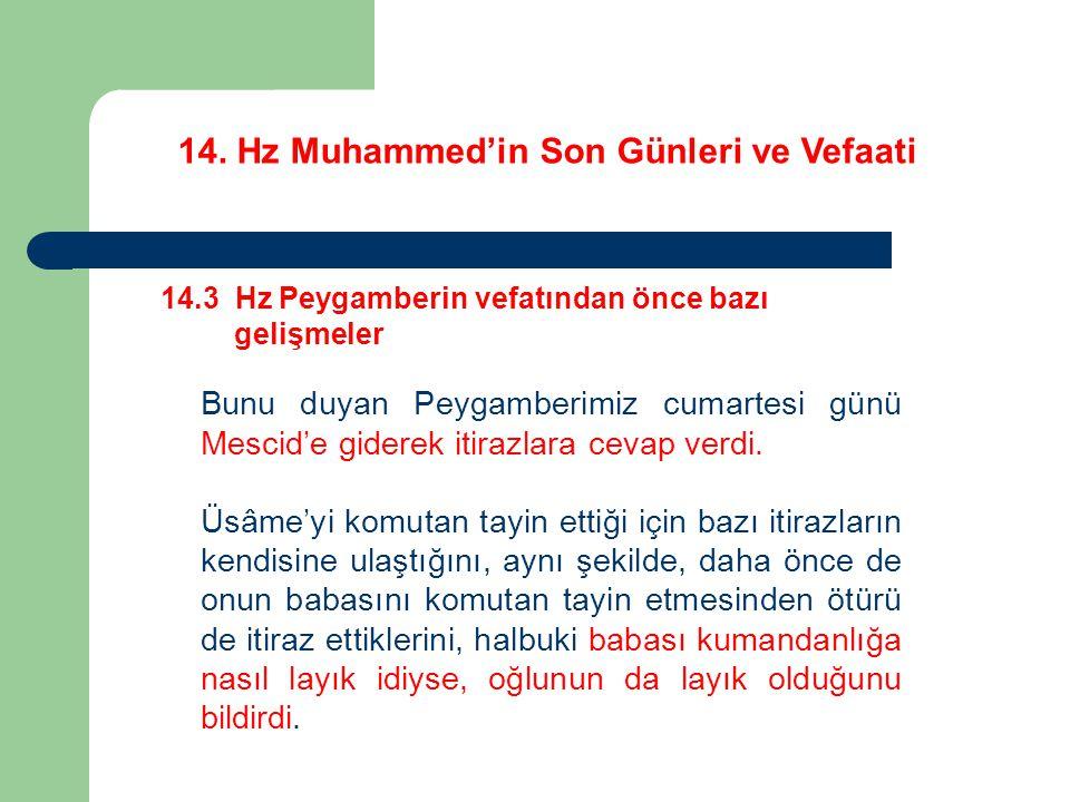 14. Hz Muhammed'in Son Günleri ve Vefaati 14.3 Hz Peygamberin vefatından önce bazı gelişmeler Bunu duyan Peygamberimiz cumartesi günü Mescid'e giderek
