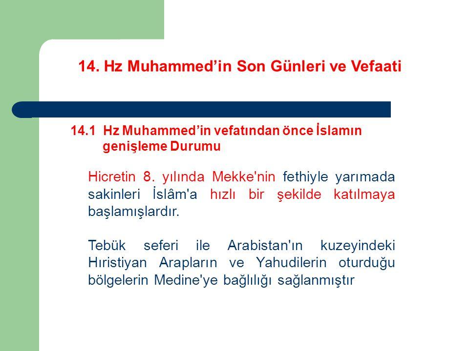 14. Hz Muhammed'in Son Günleri ve Vefaati 14.1 Hz Muhammed'in vefatından önce İslamın genişleme Durumu Hicretin 8. yılında Mekke'nin fethiyle yarımada
