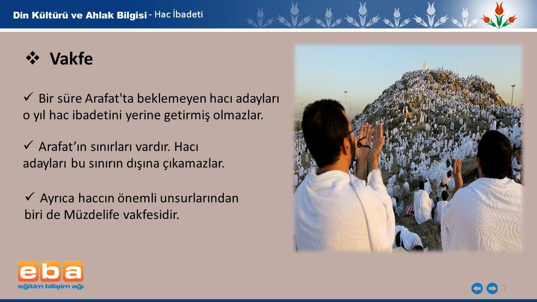 7  Vakfe Arafat'ın sınırları vardır. Hacı adayları bu sınırın dışına çıkamazlar. Ayrıca haccın önemli unsurlarından biri de Müzdelife vakfesidir. - H