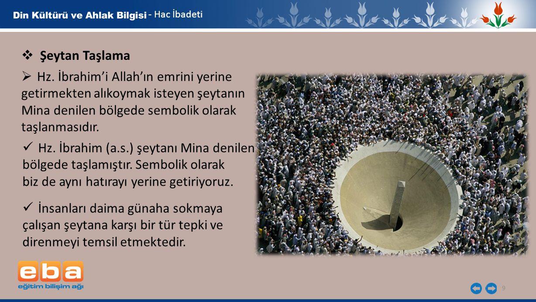 9 - Hac İbadeti  Şeytan Taşlama  Hz. İbrahim'i Allah'ın emrini yerine getirmekten alıkoymak isteyen şeytanın Mina denilen bölgede sembolik olarak ta