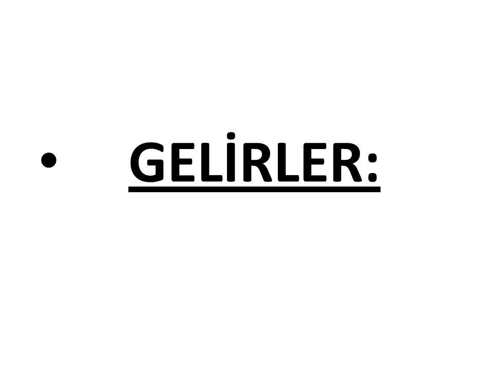 GELİRLER: