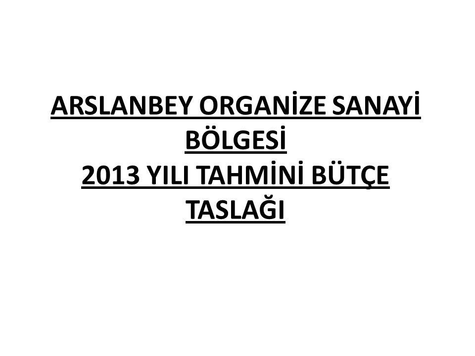 ARSLANBEY ORGANİZE SANAYİ BÖLGESİ 2013 YILI TAHMİNİ BÜTÇE TASLAĞI