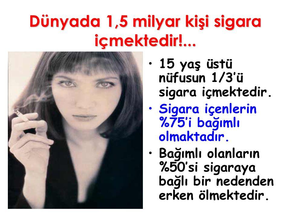 Dünyada 1,5 milyar kişi sigara içmektedir!... 15 yaş üstü nüfusun 1/3'ü sigara içmektedir. Sigara içenlerin %75'i bağımlı olmaktadır. Bağımlı olanları