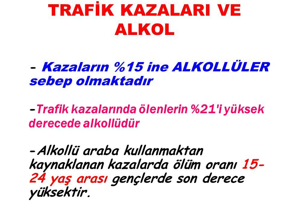 TRAFİK KAZALARI VE ALKOL - Kazaların %15 ine ALKOLLÜLER sebep olmaktadır - Trafik kazalarında ölenlerin %21'i yüksek derecede alkollüdür -Alkollü arab