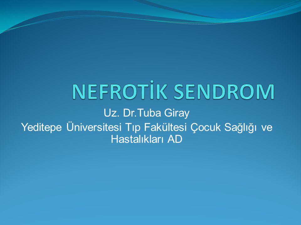 NS-tedavi Albumin 1 gr/kg 2 saatte ardından diüretik verilir (skrotal,labial şişme, asit veya plevral efüzyon bulguları olanlarda) NS komplikasyonlar: Enfeksiyon (peritonit, selülit, bakteriyemi), tromboembolik komplikasyonlar (renal ven trombozu)