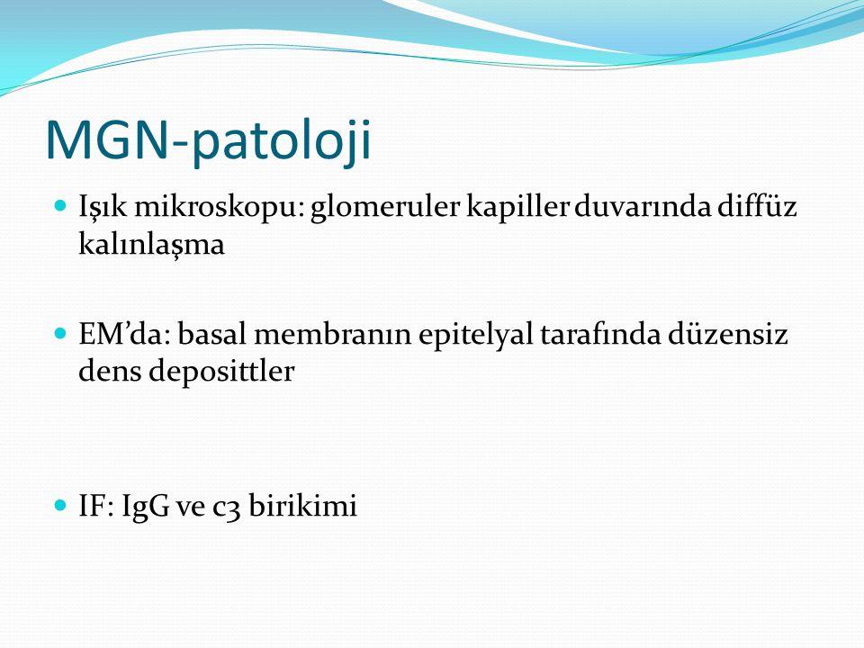 MGN-patoloji Işık mikroskopu: glomeruler kapiller duvarında diffüz kalınlaşma EM'da: basal membranın epitelyal tarafında düzensiz dens deposittler IF: