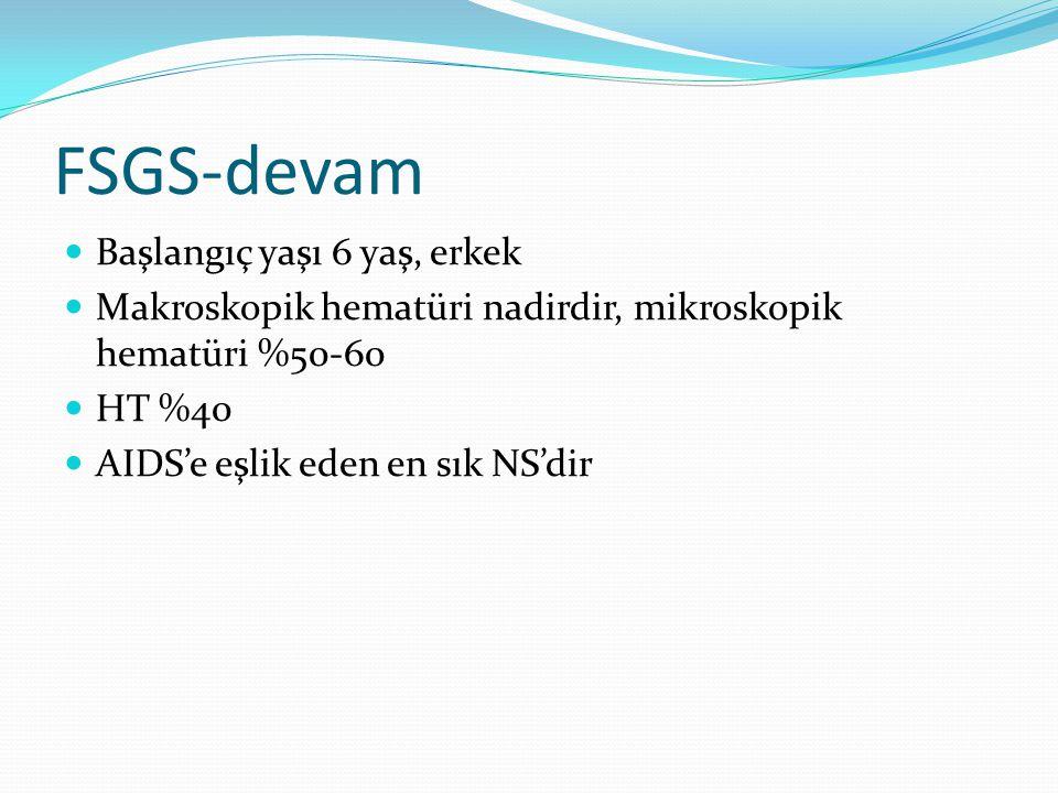 FSGS-devam Başlangıç yaşı 6 yaş, erkek Makroskopik hematüri nadirdir, mikroskopik hematüri %50-60 HT %40 AIDS'e eşlik eden en sık NS'dir