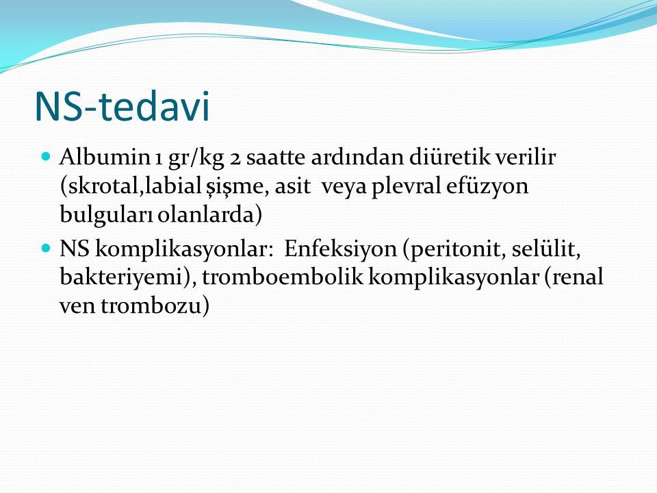 NS-tedavi Albumin 1 gr/kg 2 saatte ardından diüretik verilir (skrotal,labial şişme, asit veya plevral efüzyon bulguları olanlarda) NS komplikasyonlar: