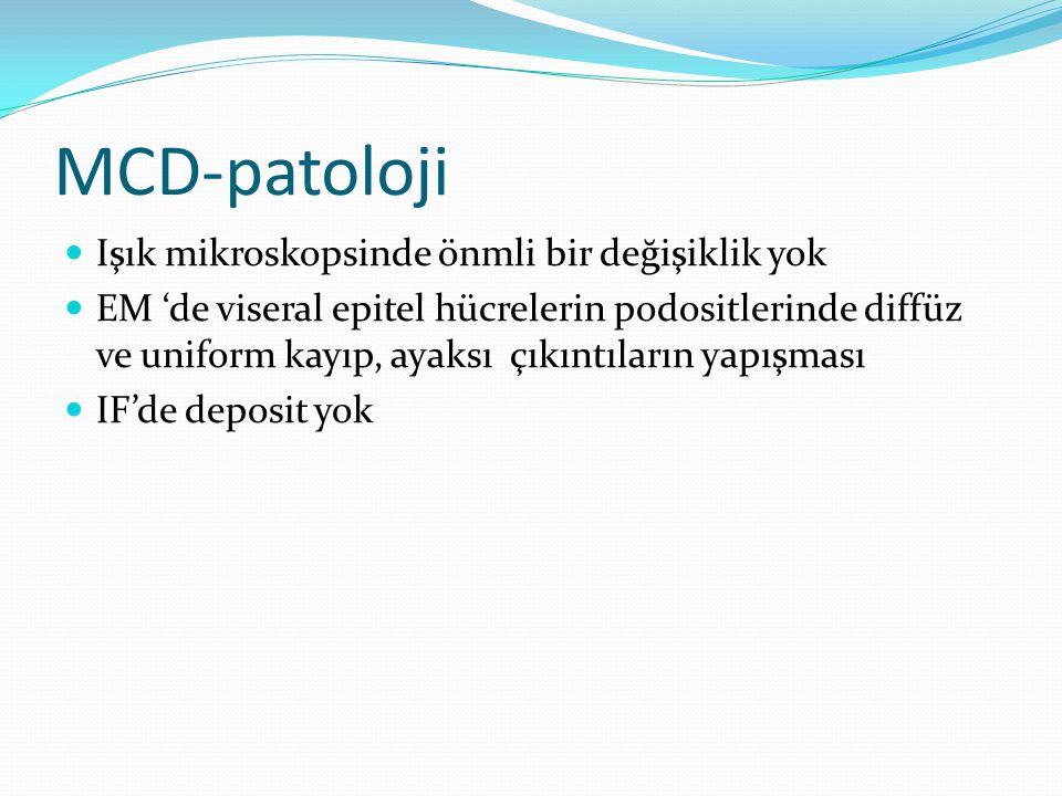 MCD-patoloji Işık mikroskopsinde önmli bir değişiklik yok EM 'de viseral epitel hücrelerin podositlerinde diffüz ve uniform kayıp, ayaksı çıkıntıların