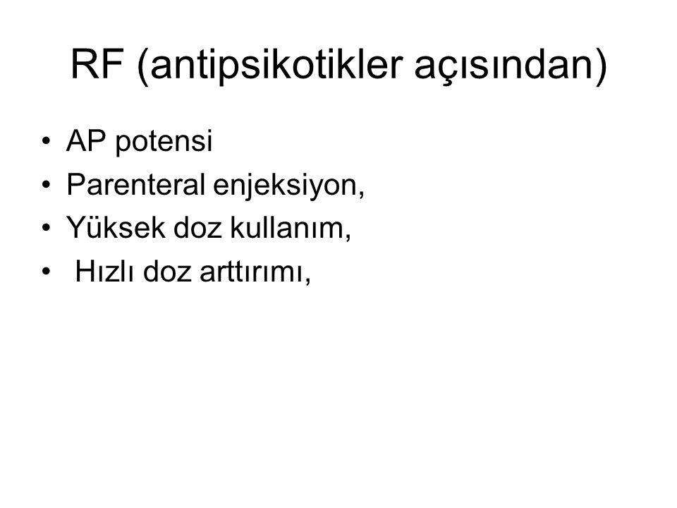 RF (antipsikotikler açısından) AP potensi Parenteral enjeksiyon, Yüksek doz kullanım, Hızlı doz arttırımı,