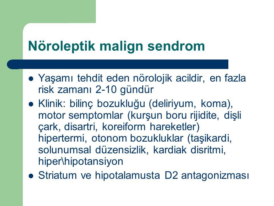 Nöroleptik malign sendrom Yaşamı tehdit eden nörolojik acildir, en fazla risk zamanı 2-10 gündür Klinik: bilinç bozukluğu (deliriyum, koma), motor sem