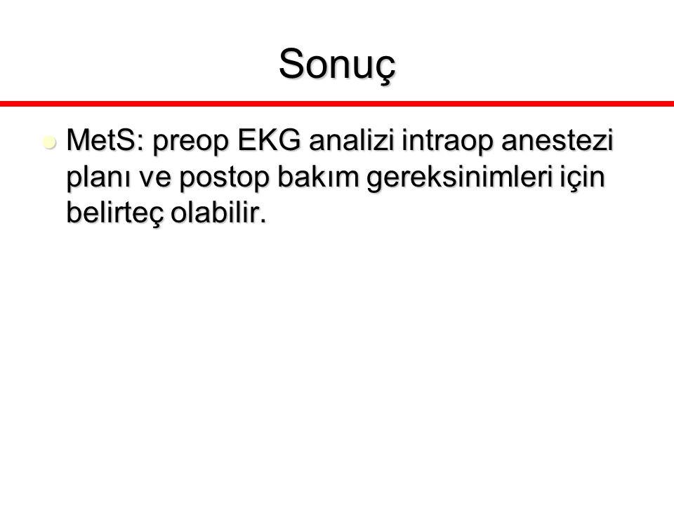 Sonuç MetS: preop EKG analizi intraop anestezi planı ve postop bakım gereksinimleri için belirteç olabilir. MetS: preop EKG analizi intraop anestezi p