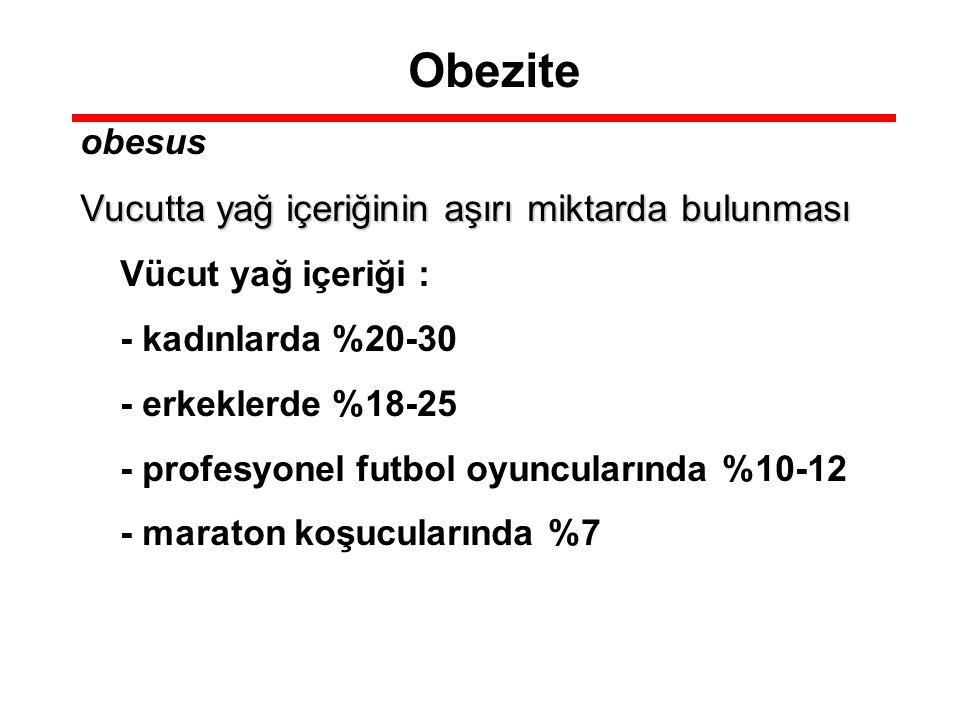 Obezite obesus Vucutta yağ içeriğinin aşırı miktarda bulunması Vücut yağ içeriği : - kadınlarda %20-30 - erkeklerde %18-25 - profesyonel futbol oyuncu