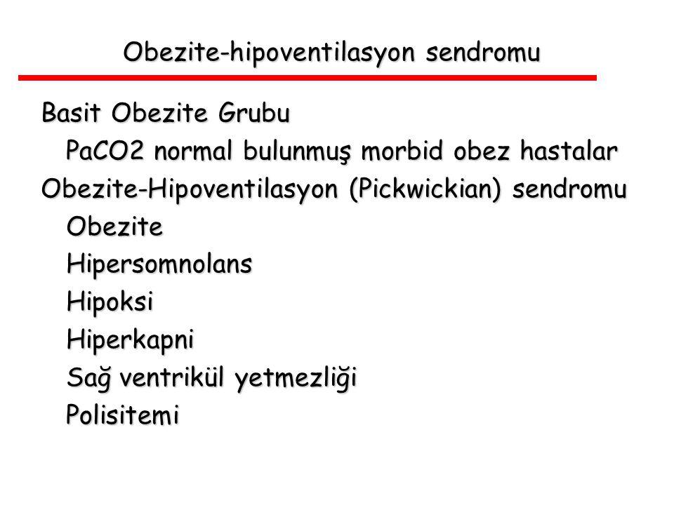 Obezite-hipoventilasyon sendromu Basit Obezite Grubu PaCO2 normal bulunmuş morbid obez hastalar Obezite-Hipoventilasyon (Pickwickian) sendromu Obezite