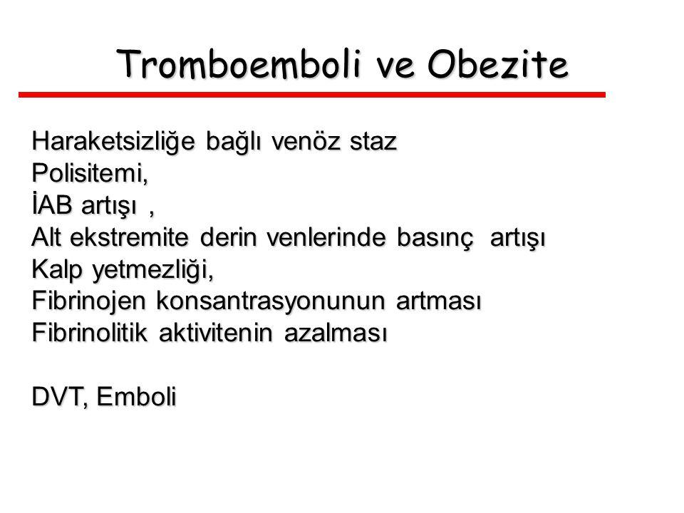 Tromboemboli ve Obezite Haraketsizliğe bağlı venöz staz Polisitemi, İAB artışı, Alt ekstremite derin venlerinde basınç artışı Kalp yetmezliği, Fibrino