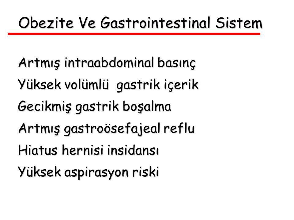 Obezite Ve Gastrointestinal Sistem Artmış intraabdominal basınç Yüksek volümlü gastrik içerik Gecikmiş gastrik boşalma Artmış gastroösefajeal reflu Hi