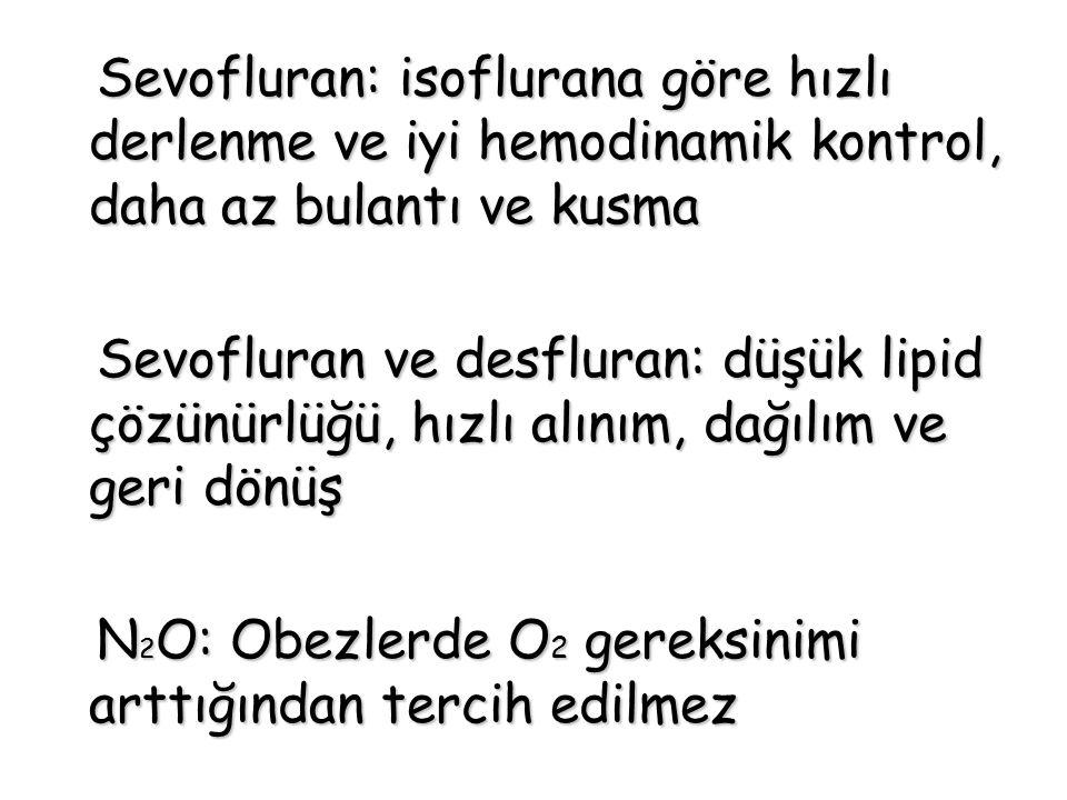 Sevofluran: isoflurana göre hızlı derlenme ve iyi hemodinamik kontrol, daha az bulantı ve kusma Sevofluran: isoflurana göre hızlı derlenme ve iyi hemo