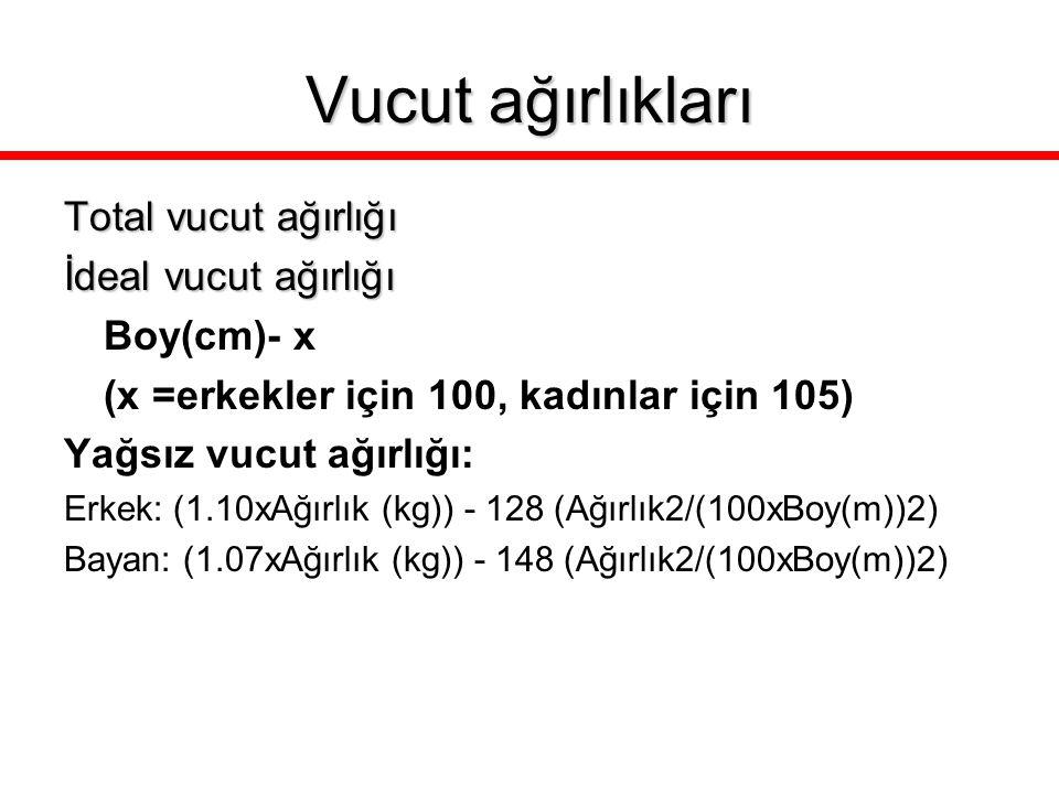 Vucut ağırlıkları Total vucut ağırlığı İdeal vucut ağırlığı Boy(cm)- x (x =erkekler için 100, kadınlar için 105) Yağsız vucut ağırlığı: Erkek: (1.10xA