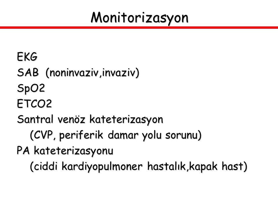 Monitorizasyon EKG SAB (noninvaziv,invaziv) SpO2ETCO2 Santral venöz kateterizasyon (CVP, periferik damar yolu sorunu) (CVP, periferik damar yolu sorun