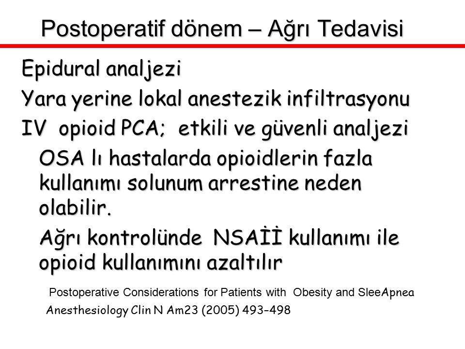 Epidural analjezi Yara yerine lokal anestezik infiltrasyonu IV opioid PCA; etkili ve güvenli analjezi OSA lı hastalarda opioidlerin fazla kullanımı so